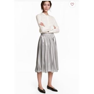 H&M Metallic Pleated Skirt